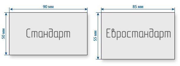 Стандарты размеров визиток
